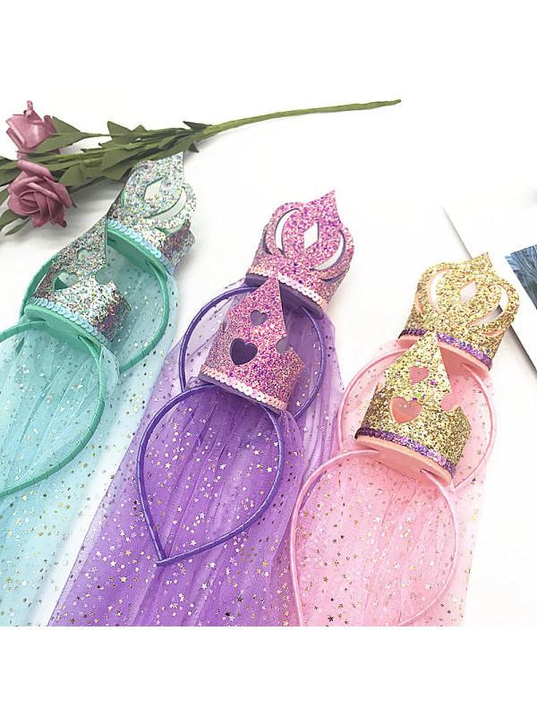 Cute Princess Crown Veil Headband