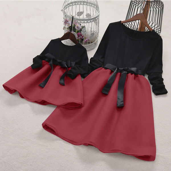Mom Girl Bowknot Self Tie Color Block Matching Dress