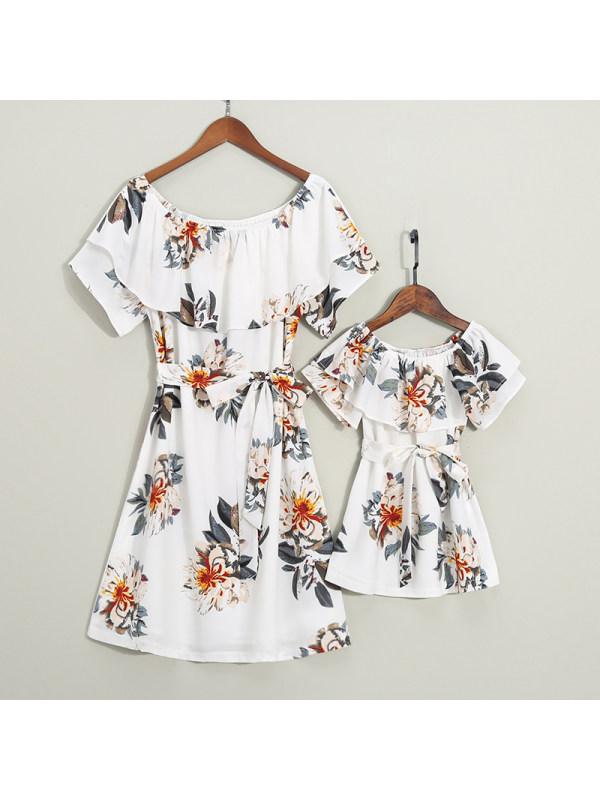 Falbala Self Tie Bowknot Flower Pattern Mom Girl Matching Dress