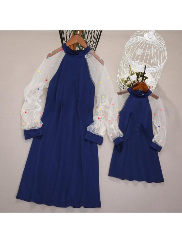 Long Sleeve Blue Mom Girl Matching Dress