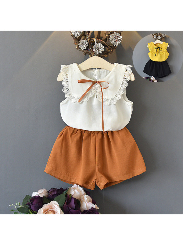 【18M-7Y】Girl Sleeveless Lace Splicing Doll Collar Suit
