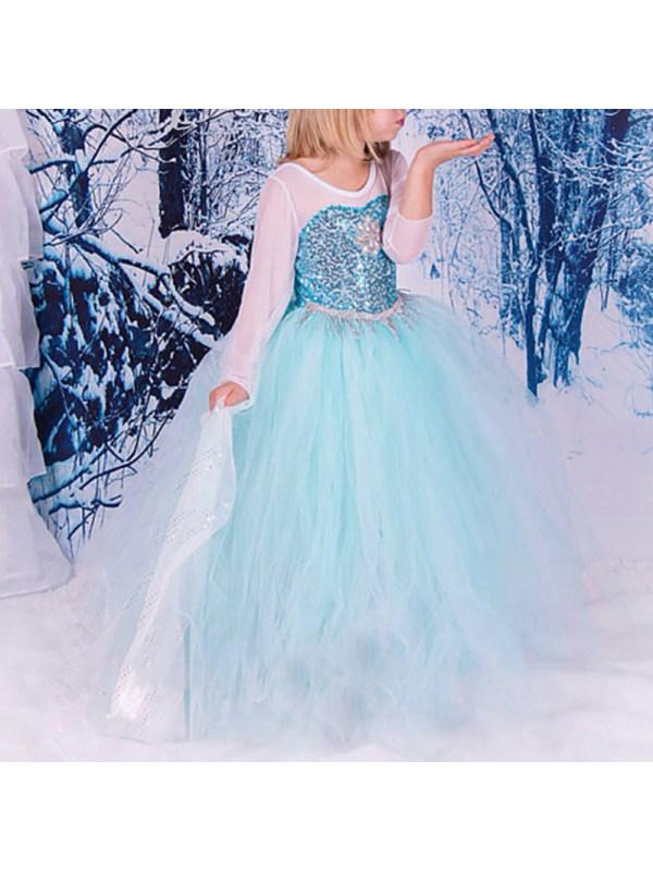 【3Y-11Y】Girls Fashion Round Neck Blue Long Sleeve Puff Elsa Princess Dress