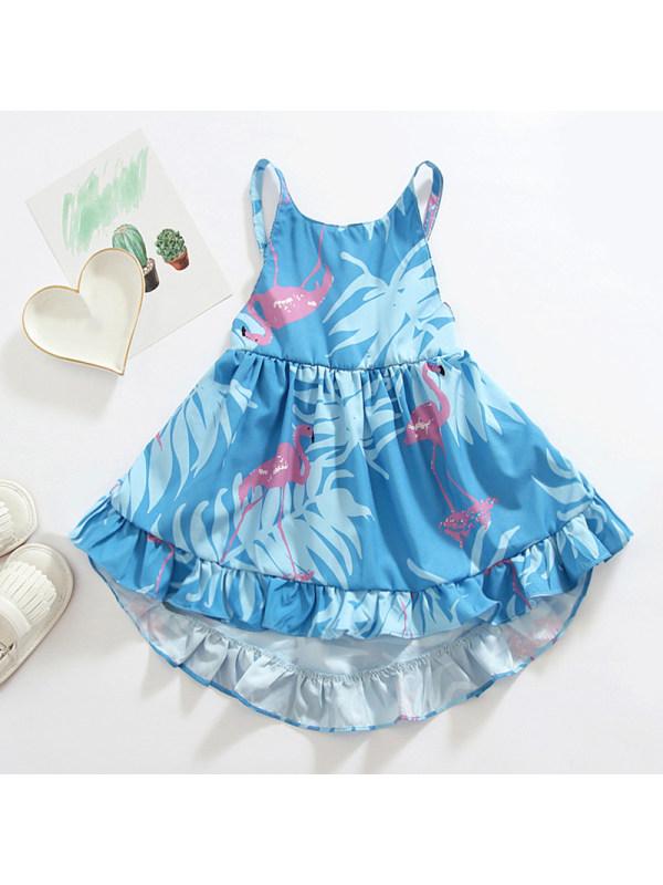 【6M-4Y】Girls Fashion Strap Flamingo Printed Ruffle Dress