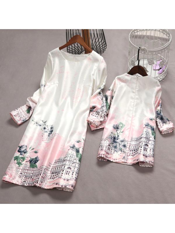 Mom Girl Eiffel Tower Graffiti Zipper Back Matching Dress