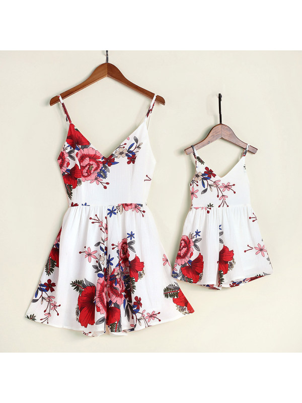 Sexy V-Neck Sling Floral Printed Mom Girl Matching Dress - 1501