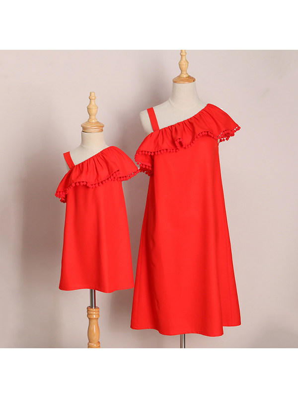 Pompon Decorated One Shoulder Mom Girl Matching Dress - 1366