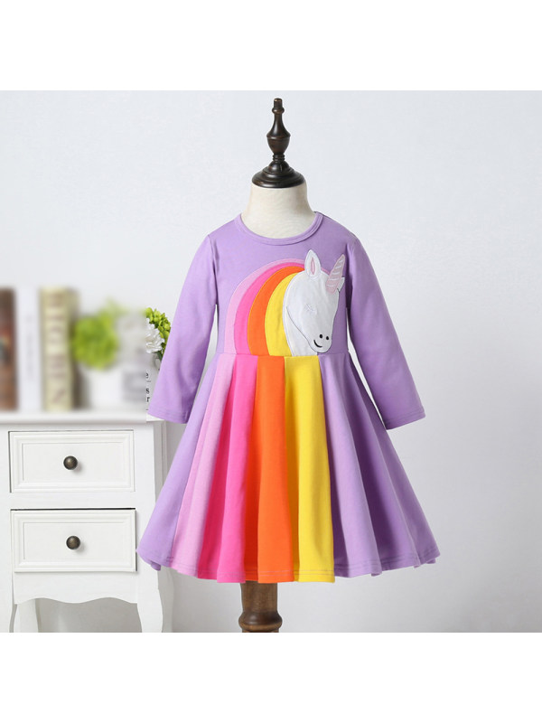 【18M-7Y】Sweet Round Neck Color Striped Long Sleeve Dress