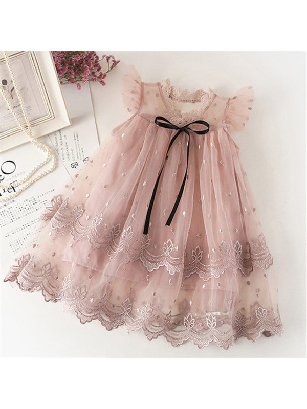 【2Y-9Y】Girl Sweet Round Neck Embroidered Mesh Pink Dress