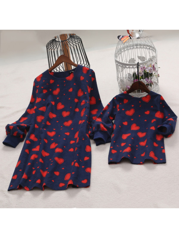 Heart Printed Zipper Back Mom Girl Matching Dress