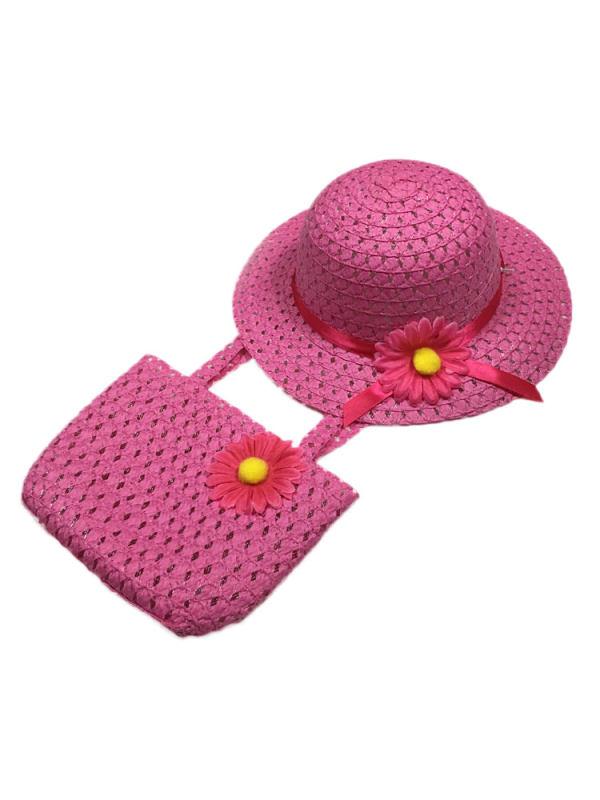 Baby Girl Summer Holiday Straw Bag & Hat Set