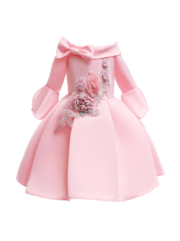 【2Y-11Y】Girls Flower Embroidered Long-Sleeved Princess Dress