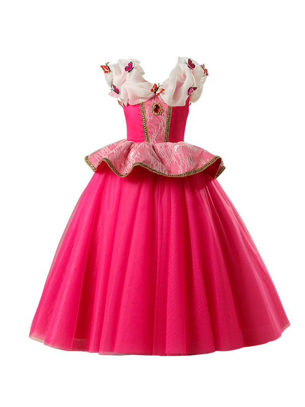 【3Y-11Y】Cute Butterfly V-Neck Sleeveless Rose Red Mesh Princess Dress
