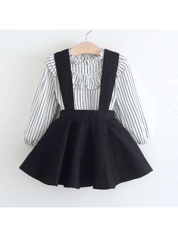 【18M-7Y】Stripe Shirt And Embroidered Suspender Skirt Set