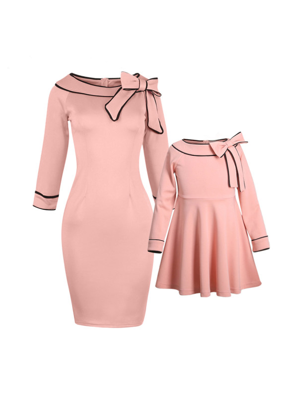 Round Neck Long Sleeve Pink Bowknot Decorated Mom Girl Matching Dress
