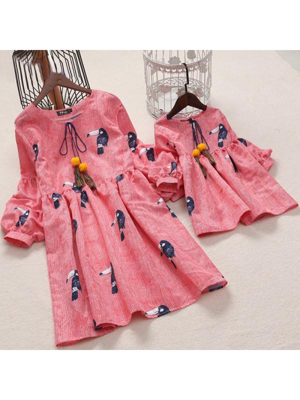 Birds Prints Lantern Sleeve Mom Girl Matching Dress - 1317