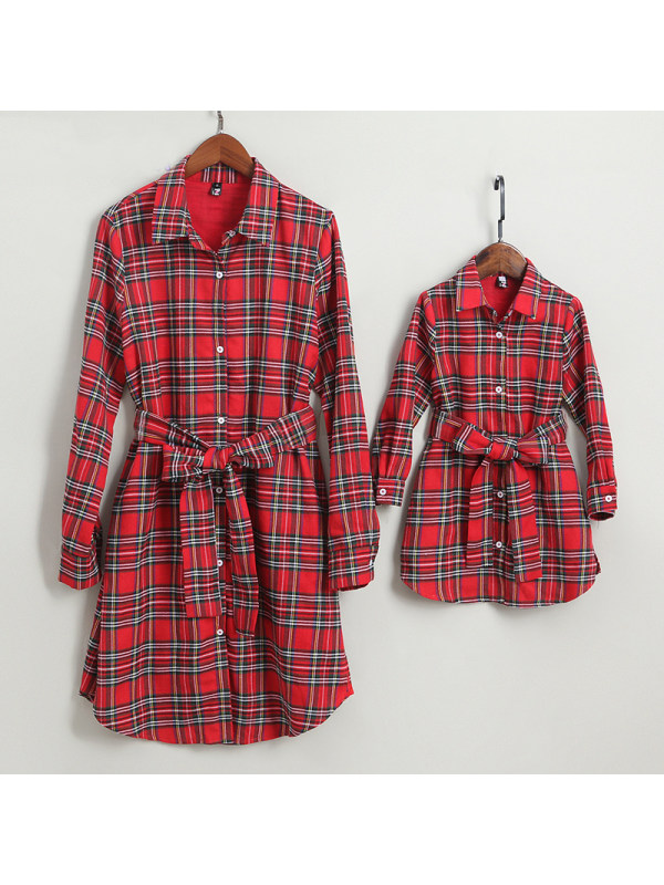 Plaid Self Tie Shirt Mom Girl Matching Dress