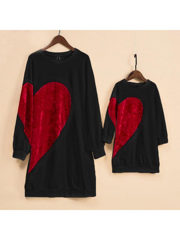 Mom Girl Velvet Big Red Heart Pattern Matching Dress