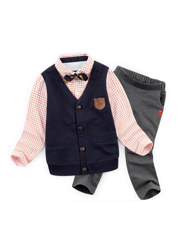 【2Y-9Y】Bow Tie Decorated Vest Plaid Shirt Trouser Sets