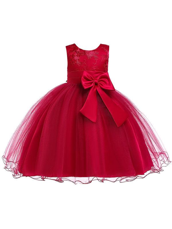 【2Y-13Y】Girl Three-Dimensional Bow Princess Dress