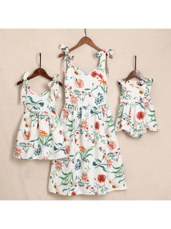 Botanical Printed Pleated Cami Mom Girl Matching Dress