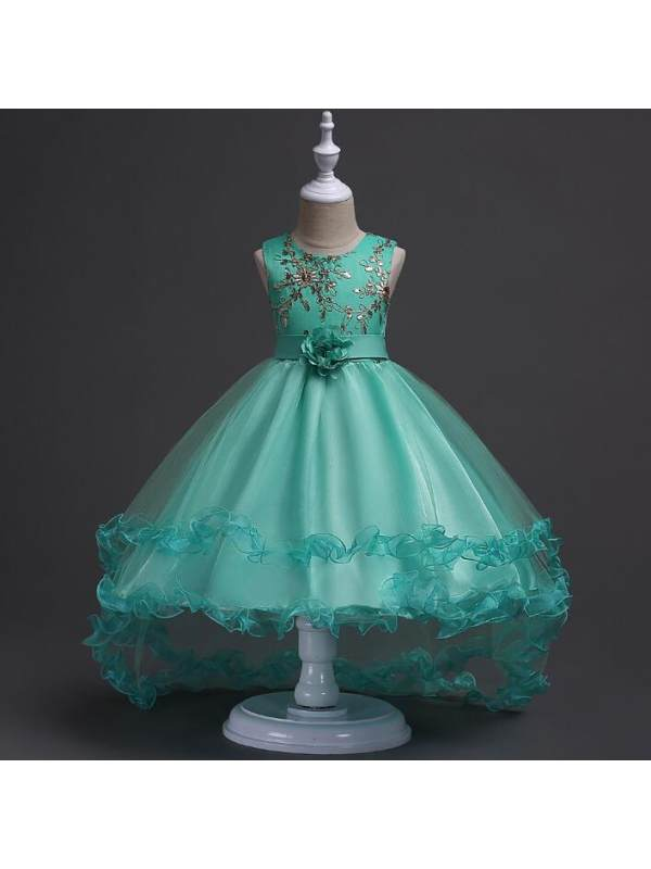 【3Y-11Y】Embroidered Flowers Layered Tulle Trailing Princess Dress