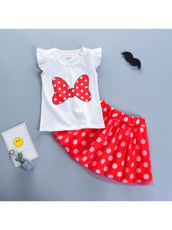 【12M-4Y】Girls Round Neck Flying Sleeves Bow Knot Polka Dot Printing With Half-length Skirt Two-piece Suit