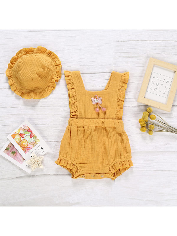 【6M-3Y】Baby Girl Solid Color Romper with Hat