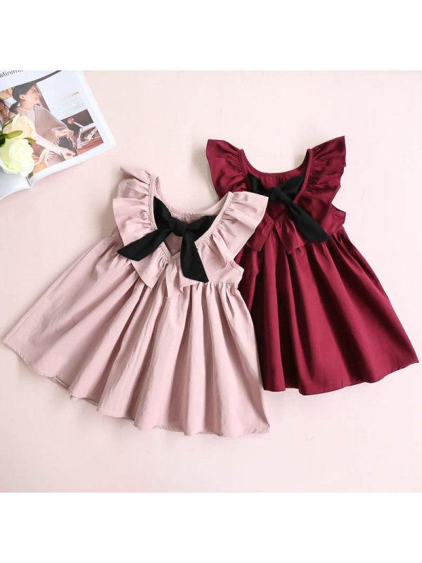 【12M-7Y】Girl Solid Color Backless Dress