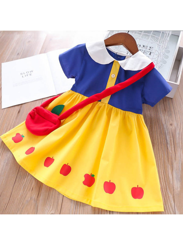 【18M-7Y】Snow White Short Sleeve Dress with Bag
