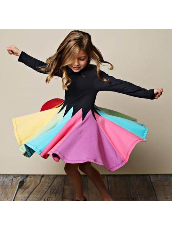【18M-7Y】Sweet Round Neck Colorblock Print Dress
