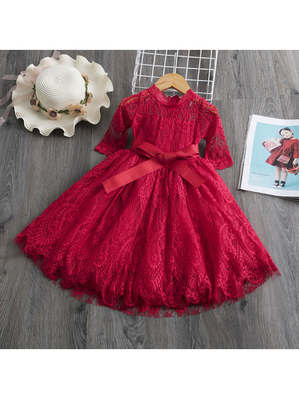 【2Y-9Y】Elegant Lace Bow Evening Dress