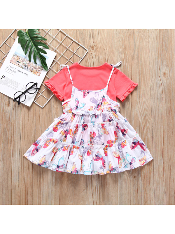 【18M-7Y】Girl T-Shirt And Butterfly Print Cami Dress Set