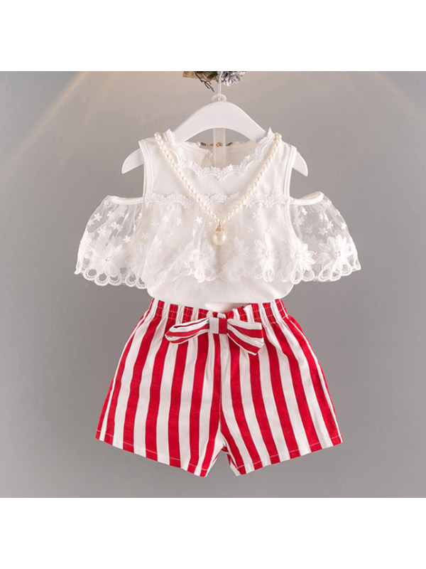 【18M-7Y】Girls Lace Cold-Shoulder Short Sleeve Shirt And Striped Shorts Set - 3471
