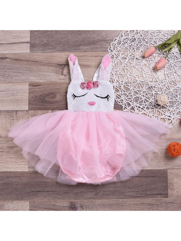 【9M-3Y】Easter Cute Rabbit Mesh Romper