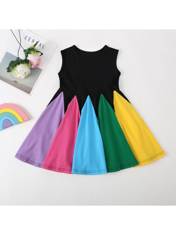 【18M-7Y】Girl Colorblock Sleeveless Dress