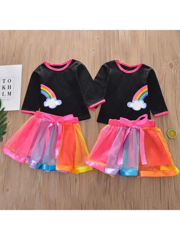 【12M-5Y】Girl Rainbow Print T-Shirt Short Skirt Set