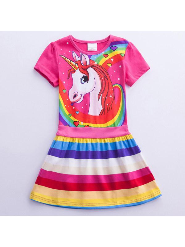 【3Y-8Y】Girl Unicorn Print Short Sleeve Dress