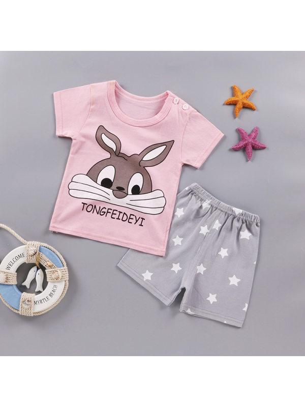 【12M-5Y】Girls Cartoon Print T-shirt Shorts Sets - 3448