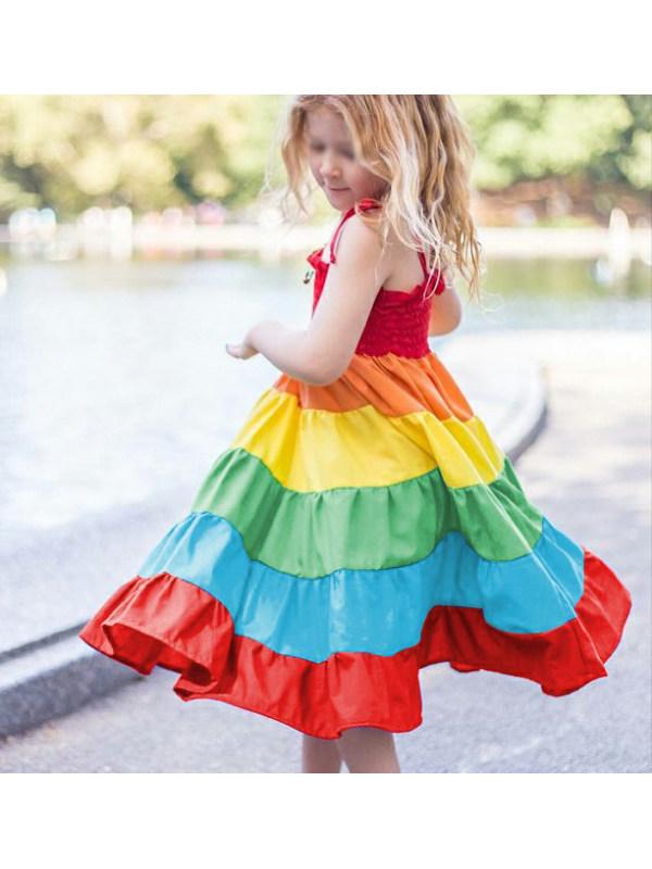 【18M-9Y】Girls Sling Bow Multicolor Dress