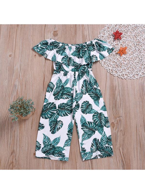 【2Y-9Y】Leaf Print Ruffled Off-The-Shoulder Bodysuit