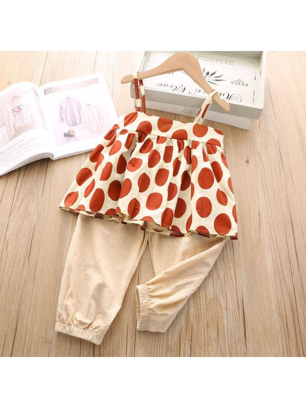 【4Y-9Y】Polka Dot Printed Loose Top Solid Color Pants Suit