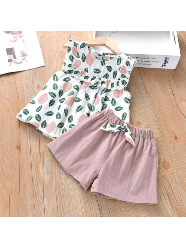 【18M-7Y】Girl Leaf Print Vest Shorts Sets - 3478