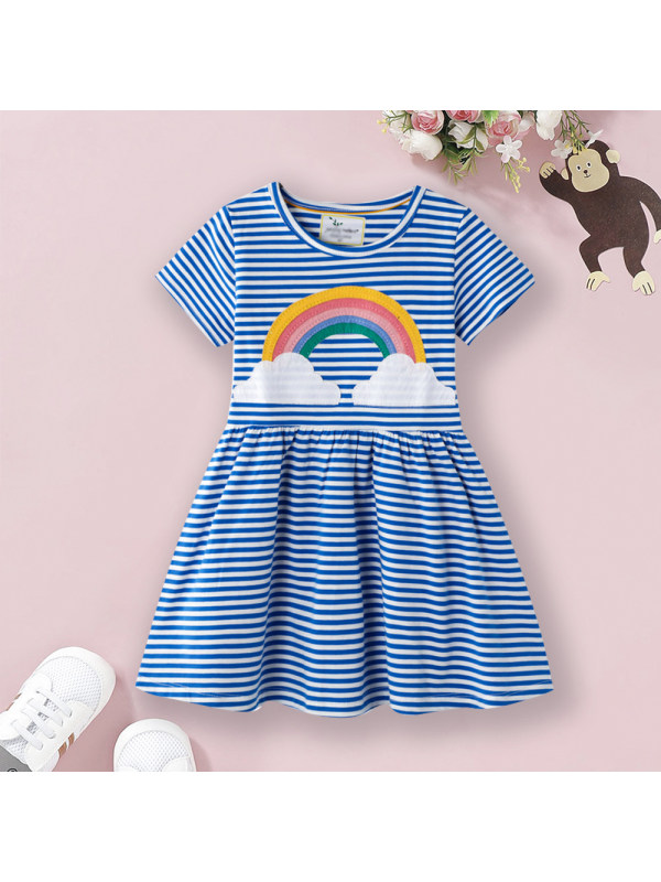 【18M-9Y】Rainbow Embroidered Striped Short Sleeve Dress