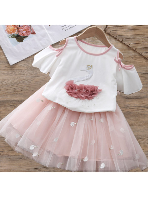 【2Y-9Y】Girl Swan Embroidered T-Shirt Short Skirt Set