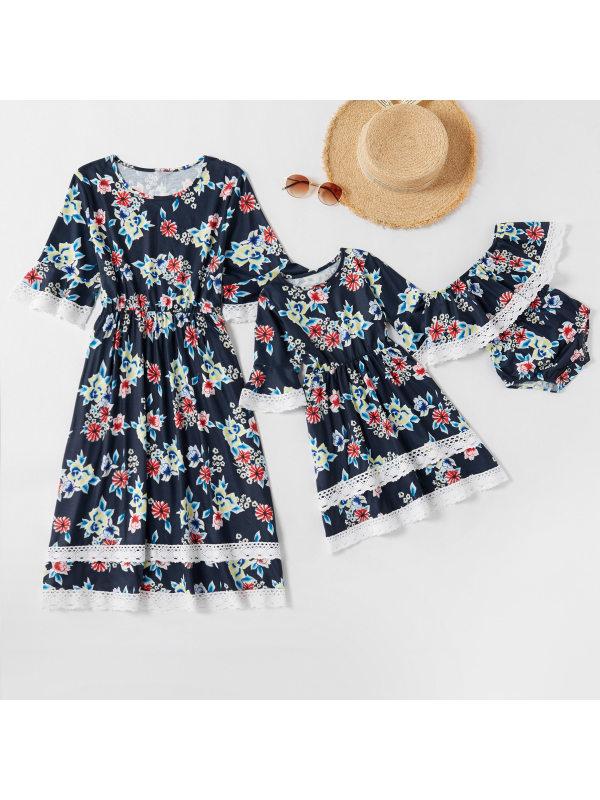 Round Neck Short Sleeve Flower Print Mom Girl Matching Dress