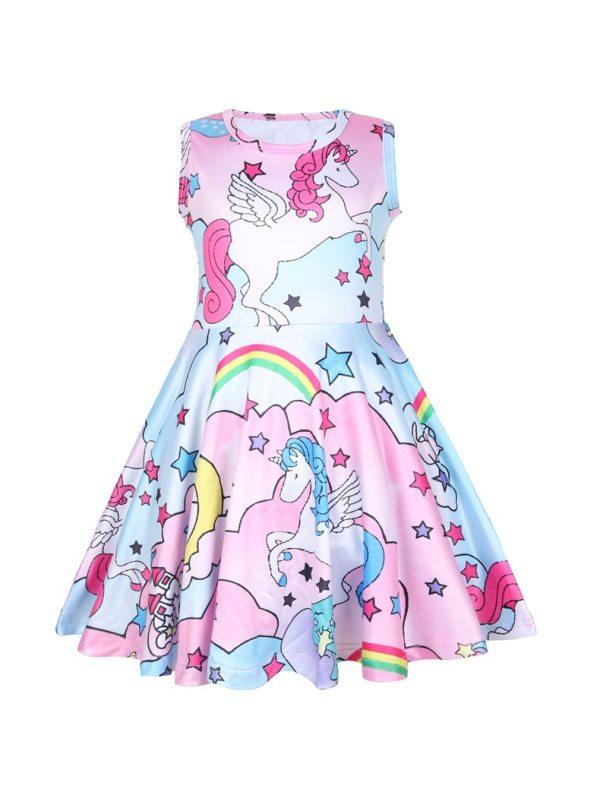 【3M-11Y】Girl Unicorn Print Sleeveless Dress
