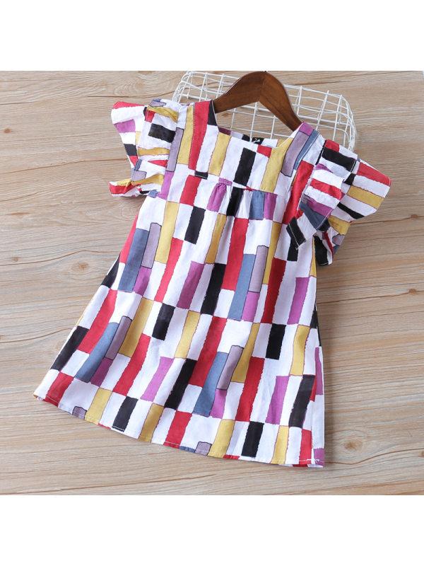 【2Y-9Y】Color Geometric Pattern Printed Short Sleeve Dress
