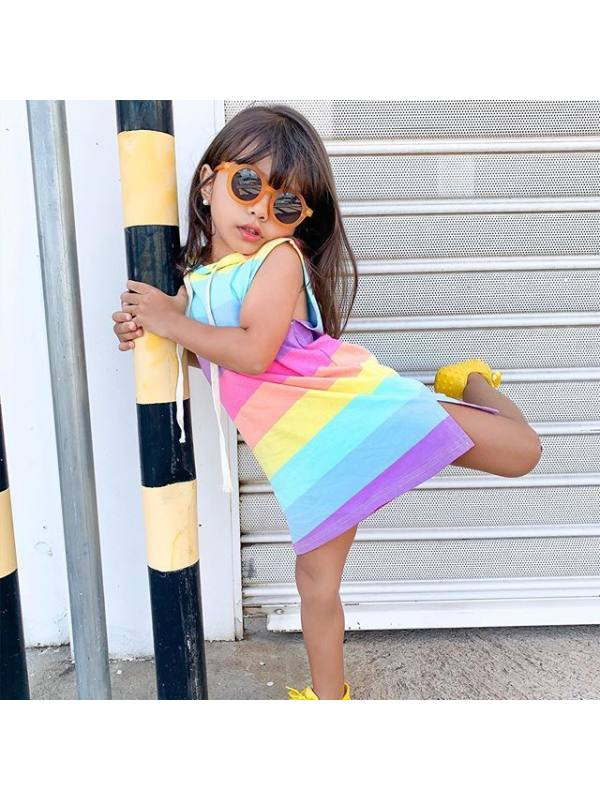 【12M-7Y】Girl Color Striped Hooded Sleeveless Dress