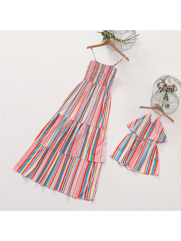 Colorful Striped Mom Girl Matching Dress - 1391