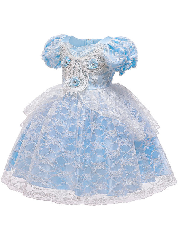 【6M-5Y】Girls Lace High Waist Puff Sleeve Princess Dress